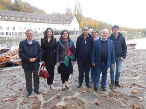 "Group picture between the Tübingen ""Casino"" (former French Army Officers Mess where the meetings were held) and the Neckar River; from left to right Hans Jørgen Lorenzen (Denmark), Ofelya Sargsyan (Germany), Consuelo Garcia (Spain), Carlos Belmonte (Spain), Ute Hirschburger (Germany, Hans-Jürgen Zahorka (Germany), Aleksandar Miykov (Bulgaria)"