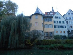 View from the Neckar river on the tower, where the poet Hölderlin lived for 37 years. Picture taken from the session on a punting boat.